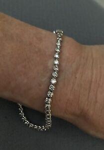 """Vintage Diamond 14k White Gold Tennis Bracelet Unisex 7 1/2"""" Long"""