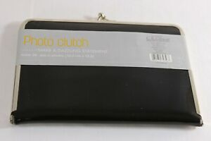 C. R. Gibson Photo Clutch Black Faux Patent Leather Silver Trim Holds 20 Photos