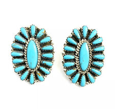 Native American Sterling Silver Hand Made  Handmade Turquoise Cluster Earrings