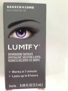 BAUSCH + LOMB LUMIFY EYE DROPS  SMALL 2.5ml 0.08fl.oz REDNESS RELIEF Exp. 05/21