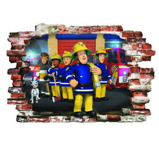 Fireman Sam Stickers Wall Decoration 3D Smashed Wall Vinyl Decor mural 57X80cm