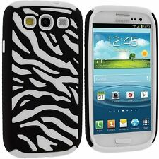 Samsung Galaxy S3 Zebra Hybrid Hard Soft Cell Phone Case Cover SIII Accessory