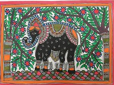 "ORIGINALE madhubani mithila DIPINTI ""Elefante"" Fatto A mano Indiano ARTE FOLK"