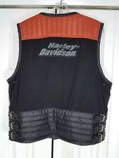 Harley Davidson Men Black/Orange Leather/Nylon Vest Sleeveless Jacket Size Large