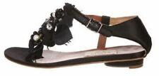 New- Lanvin Ete Women's Black Embellished Black Satin Sandle, Size 39.5, $1,000