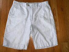 Hickey Freeman Sz 34 Light Blue Linen Cotton Blend Mens Casual Summer Shorts EUC