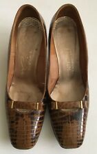 Vntg 1960's I Magnin Evins Leather/Alligator? Shoes Pump Heel Brown Sz 8 1/2 B