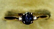 Hallmarked 9ct Yellow Gold Pretty Sapphire & Diamond Three Stone Ring, Sz P