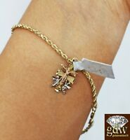 Real 10k Yellow Gold Jesus Cross Charm/Pendant with 8.5 Inch Rope Bracelet,Women