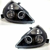 Ford KA (1996-2008) Black Halo Angel Eye Projector Front Headlights Lights -Pair