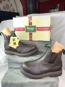 Hoggs of fife Professional Neptune Safety Boots Brown Crazy Horse U.K. 7