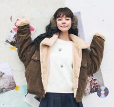 Womens Winter Fashion Fur Lining Corduroy Jacket Coat Warm Thick Lamb Outwear sz