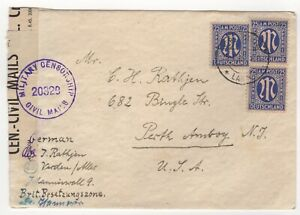 1946 Apr 25th. Censor Cover. Verden to New Jersey, USA. Military Censor.