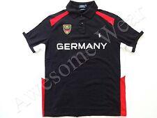 New Ralph Lauren Polo Custom Fit Big Pony Black Cotton Germany Shirt SLIM sz XS
