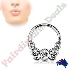 CZ Centered Silver Ion Plated Butterfly Filigree All Brass Bendable Septum Ring