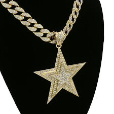 """Hip Hop 14k Gold Plated Star 3 layer Pendant 15mm - 18"""" Fully CZ Cuban Chain Set"""