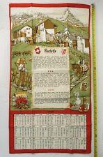 torchon calendrier 1987 Fisba recette de la raclette savoie vintage tea towel