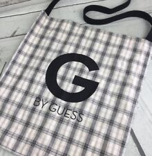 G By Guess Shoulder Bag Shoppers Cloth Tote Spell Out Retro Plaids Beach Purse