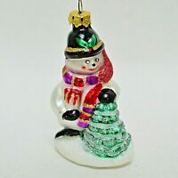 Vintage Blown Glass Figural Snowman Ornament 3.25""