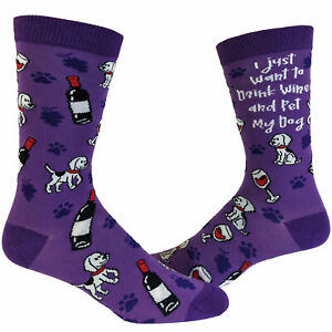 Women's I Just Want To Drink Wine And Pet My Dog Socks Funny Pet Puppy Animal
