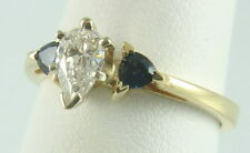 14K Yellow Gold 3/4Ct Pear Cut Diamond Solitaire Sapphire Accent Engagement Ring