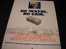 Wayne'S World 2 1993 Promo Poster Ad No Wayne, No Gain mint condition