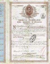 KINGDOM OF ITALY PUBLIC DEBT BOND stock certificate 1886