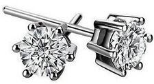 1.5 ct man-made brilliant diamond platinum post stud earrings gift box 2249