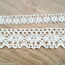 PER METRE cotton vintage effect lace trim cream or white 12mm or 30mm wide