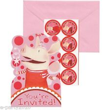 OLIVIA PIG INVITATIONS (8) ~ Birthday Party Supplies Stationery Cards Invites
