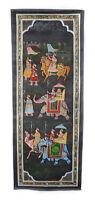 Parete Pittura Mughal Su Seta Arte Scena Di Vita India 86x38cm 1