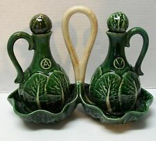Portuguese Cabbage Leaf Cruet Set with Handled Carry Tray with Stoppers Vintage
