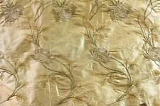 "Embroidered Silk Dupioni Fabric ~ Run for the Roses ~ Yellow - 54"" wide"
