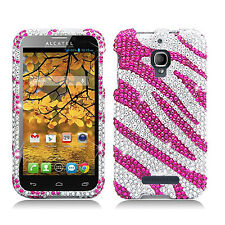 T-Mobile Alcatel ONETOUCH Fierce Crystal BLING Hard Case Cover Silver