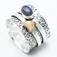 Labradorite 925 Sterling Silver Spinner Ring Meditation statement Ring sr724