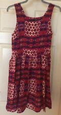 Ladies Size 12 Print Purple/reds Dress