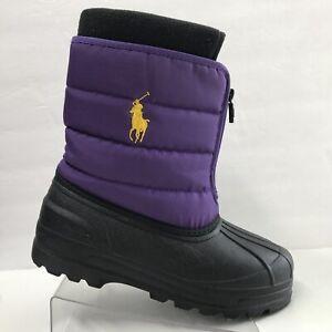 RALPH LAUREN Girls Purple Black Snow Boots Size 6 EUC #95673J Vancouver Zip