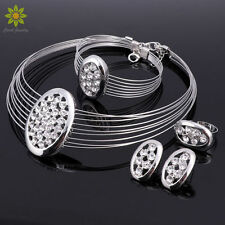 Gold/Silver Plated Necklace Bracelet Earrings Ring Crystal Wedding Jewelry Sets