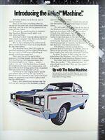 2) ADVERTISEMENTS 1970 Dart Swinger 340 & AMC Rebel Machine w/ mag wheels 390 ad