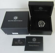 MATHIS MONTABON MM-04 CLASSIQUE MODERNE BLACK WATCH WITH LEATHER STRAP