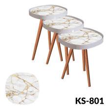 Mesa auxiliar mesa de sofá mesa frase modelo de vidrio Design mármol-Óvalo 3'er