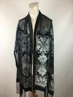Vintage Women's Black Velour Texture Sheer Scarf Size One Size