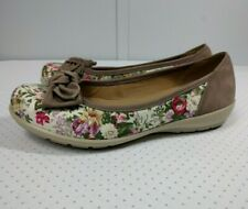 Hotter Womens Jewel Slip On Ballet Flats Floral Bow Shoes sz 7