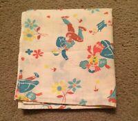 "Vintage OPEN FEEDSACK FEEDBAG Quilt Fabric Boy & Girl Dancing Flowers 37 x 33.5"""