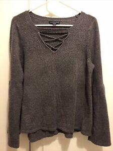American Eagle Bell Sleeve Sweater XL Criss Cross Cutout Neck Purple
