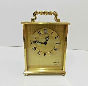 vintage ARMAND LEROY 8 Day 7 Jewels Small Mechanical BRASS CARRIAGE CLOCK