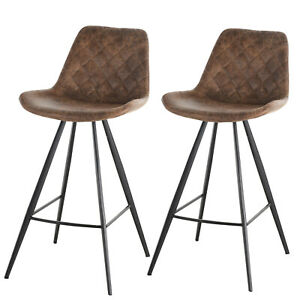 PU Leather Upholstered Twin-Pair Bar Stools Brown