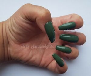 24 Hand Painted Gel False Nails - Khaki Green - Coffin, Stiletto, Square, Oval