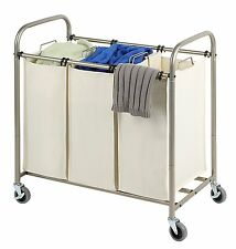 Tidy Living - Deluxe Triple Laundry Sorter Rolling Hamper Cart Organizer Basket