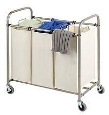 Tidy Living - Deluxe Triple Laundry Sorter Rolling Hamper Cart Organizer Basket